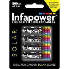 Infapower RICARICABILE AA NI-MH solare luce BATTERIE 1,2 V 600mAh 4 Pack NUOVO