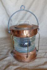 "Copper ""Meteorite"" brand Vintage ship nautical anchor light w/ fresnel lens"