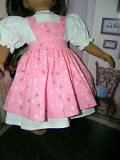 "White Dress Pink Sparkle Print Apron 2 piece Dress 23"" Doll clothes fit My Twinn"