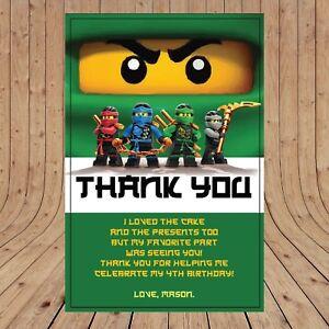 Personalised DIGITAL NINJAGO GREEN LLOYD Kids Birthday Thank You YOU PRINT