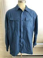 LL BEAN Heavy CHAMOIS CLOTH Flannel Shirt Blue Traditional Fit Mens XXL 2XL EUC