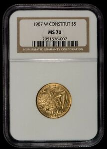 1987-W G$5 US Constitution Commemorative Gold Coin - NGC MS 70 - SKU-G1009