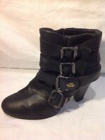 Miss Selfridge Black Ankle Leather Boots Size 6