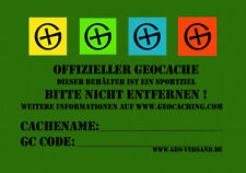 5 x große Geocaching Dosenaufkleber Stashnote Finderhinweis Geocache Versteck A7