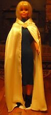 Cream Satin Long Cape with Floral Applique for Child, Teen or Small Adult FSGC37