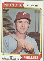 FREE SHIPPING-NRMINT-1974 TOPPS  # 214 BILLY GRABARKEWITZ PHILLIES