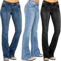 Women's Bootcut Jeans Stretch Denim Long Pants Ladies Low Waist Flared Trousers