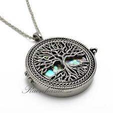 """Silver 5x Magnifying Glass Mother of Pearl Tree of Life Pendant 31"""" Necklace 04s"""
