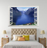 3D Blue River Hills Sky 222 Open Windows WallPaper Murals Wall Print AJ Carly