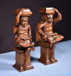"""*16"""" Pair of French Antique Walnut Figures/Support Posts Pillars Salvage"""