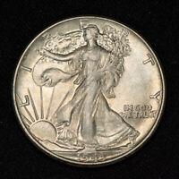 1943 50c WALKING LIBERTY HALF DOLLAR, LUSTER! ORIGINAL TONING *UNC* LOT#V099