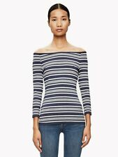Theory Large Striped Boat Neck Stretch Ennalyn Top Blue White