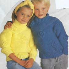 """Boys Girls Knitting Pattern Chunky Sweater 24-32""""   226"""