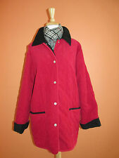 Denim & Co Womens Size M Reversible Red Black Cord Quilted Riding Jacket Coat