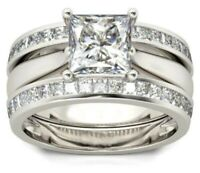 3 CT Princess Cut Channel Diamond Engagement Trio Ring Band Set 14k White Gold