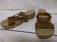 Crocs A-Leigh Brown Leather Strap Cork Wedge Heel Sandal Women Size 7