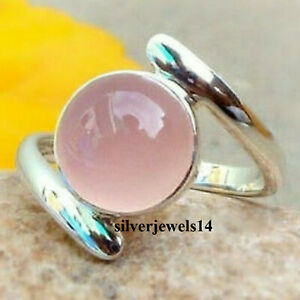 Rose Quartz Solid 925 Sterling Silver Ring Band Handmade Ring Statement kd9307