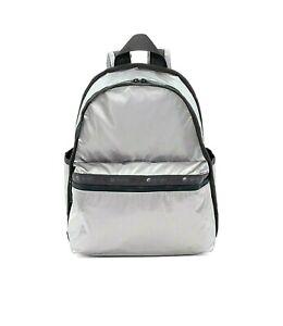 LeSportsac Gray Shimmer Basic Backpack/Rucksack Silver Iridescent Metallic NWT