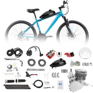 Full Set 110cc Bicycle Motor Kit Bike Motorized 2Stroke Petrol Gas Engine Silver