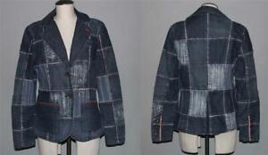 PEPE JEANS Patchwork Distressed Lined Denim Metal Button Jacket Blazer Wms L EXC