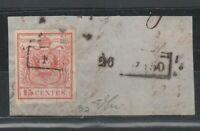 FRANCOBOLLI - 1850 LOMBARDO VENETO C.15 ROSSO VENEZIA E/6085