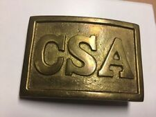 "Confederate Cs 2-3/4"" C.S.A. Square Belt Buckle Civil War Reproduction New"