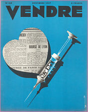 ▬►MARKETING PUBLICITÉ  -- VENDRE N° 168 (NOVEMBRE 1937) - COVER  AZARIA BENAROYA