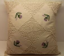 New! 4 PACK Crochet Knit Cushion Cover Cream Green Cotton Handmade Lace Floral