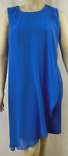 Rockmans Blue Sleeveless Ponte Chiffon Overlay Shift Dress Size 20 # G8