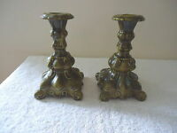 "Vintage Set Of 2 Holland Mold Ceramic Green Candle Holders "" BEAUTIFUL SET """