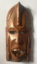 Vintage Hand Carved African Tribal Mask Made In Kenya 26cm