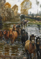 River Crossing English Painting Alfred Munnings Gypsy Horse Pony Canvas Print A4