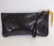 VTG Moss Mills Clutch Womens Glazed Black Leather Wristlet Purse Evening Bag USA