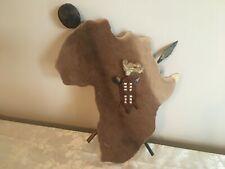 Vintage African Continent Wall Art, Antelope Skin, Handmade in Africa