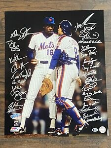 1986 NEW YORK METS signed 16x20 photo WORLD SERIES CHAMPIONS Auto Autograph BAS