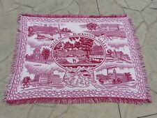 Vtg Large Throw Blanket - Mills Of The Blackstone Valley, Cranberry 66� x 51�