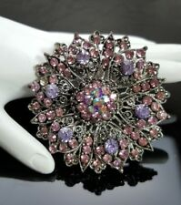 Vintage Pink Lilac Flower Brooch Lapel Pin Antique Silver Rhinestones Round USA