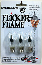 (3) Three C7 Flicker Flame Light Bulbs For Christmas Lights or Candles NEW