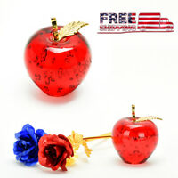 Glass Red Apple Gold Leaf Mother's Day Romantic Gift Idea Luxury Decorations