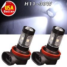 2x 30W H11 Cool White High Power LED Car Fog Driving DRL Light Projector 12V-24V