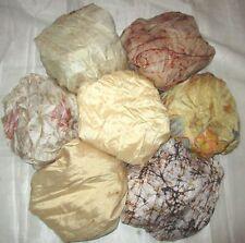 LOT PURE SILK Vintage Sari REMNANT Fabric 7 Pcs 1 ft Cream Decor #,AEKM