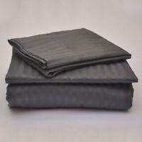 "Egyptian Cotton 800 TC Dark Grey Stripe  Sheet Set/Duvet/Fitted/Pillow 15"" Drop"