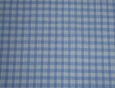 Antique Vtg. French Blue Carreaux Check Plaid Cotton Fabric ~ unused store stock