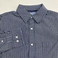 Croft & Barrow Button Up Shirt Men's Size Medium Long Sleeve Navy White Striped