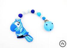 ♥ Beisskette aus Silikon ★ Papagei in verschiedenen Blautönen - Silikonkette