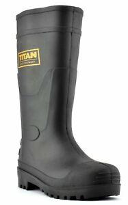 Mens Titan Waterproof Safety Wellington Steel Toe Midsole Work Wellies Boots