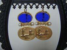 TAGLIAMONTE Designs (LDM1096) 14K YG Venetian Cameo Earrings W/ Pearls *Beauty*
