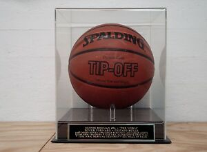 Dennis Rodman Basketball Display Case With A Chicago Bulls Engraved Nameplate