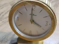 Seth Thomas Gold tone Brass Desk Travel Alarm Clock