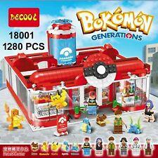 Pokemon Pokecenter Ash Professor Oak 6 Figures 5 Monsters Building Block Toys